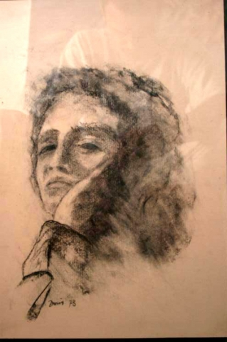 Portret Milanke 1 40x27 karbonično 1960