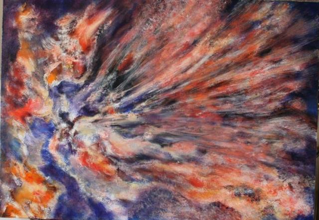 Vatreno nebo 100x70 akrilik na platnu 2003