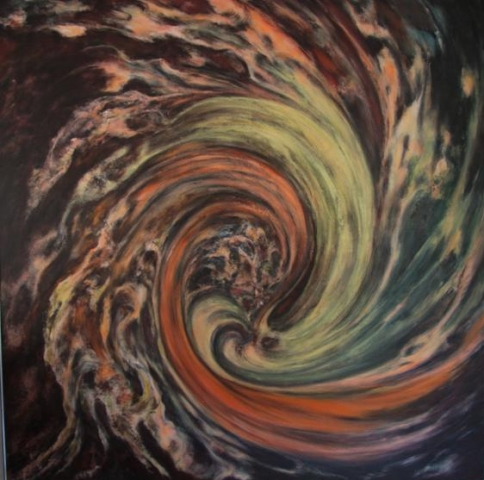 Kozmička spirala 150x150 akrilik na platnu 2002